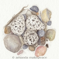 Nest of Stone Watercolor Nature Painting