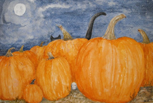 Hide n Seek Cat and Mouse Halloween Watercolor