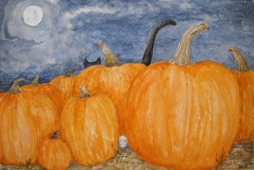 Hide n Seek Cat and Mouse Halloween Watercolor