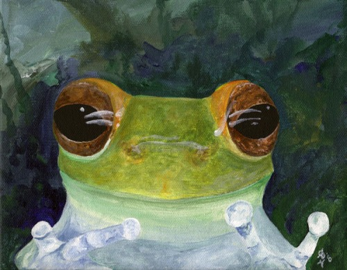 Curiosity Tree Frog Painting by Amanda Makepeace