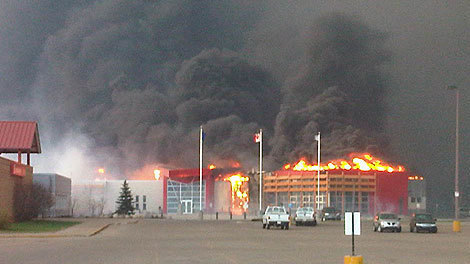 Slave Lake Library During the Fire.