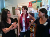Janet, in the middle, is often the voice behind @AvidBookshop on Twitter